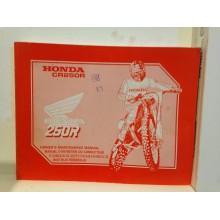 MANUEL D'ENTRETIEN HONDA 250 CR 1989