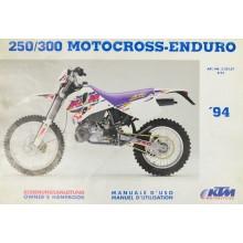 REVUE TECHNIQUE/MANUEL UTILISATION EXC 250 300 1994 KTM