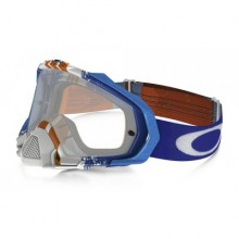 MASQUE OAKLEY MAYHEM PRO PINNED RACE BLUE/ORANGE ÉCRAN TRANSPARENT
