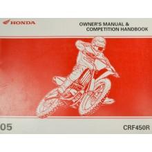 REVUE TECHNIQUE/MANUEL UTILISATION ANGLAIS CRF 450 R 2005 HONDA