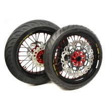 PAIRE DE ROUES SUPERMOTARD EXCEL G2 + PNEUS RIEJU MR SUPERMOTARD