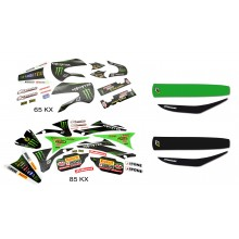 Kit déco / housse de selle 65 85 KX MONSTER ENERGY KAWASAKI MX2 RACING TEAM